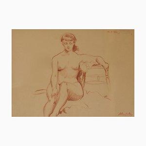 Helen, Mid-Century, figurativa mujer desnuda, Arthur Royce Bradbury, lápiz, 1952