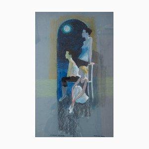 Bailarines en reposo, impresionista de ballet, Frank Hill, 1970