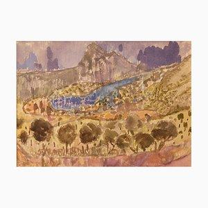 Landschaft der Provence in Frankreich, spätes 20. Jh., Aquarell von Muriel Archer, 1980er