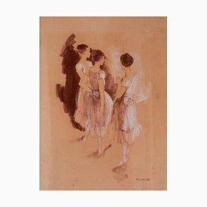 Ensayo, óleo de ballet impresionista, Frank Hill, 1970