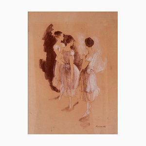 Rehearsal, Impressionist Oil of Ballet, Frank Hill, 1970