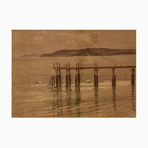 Pier, Mid 20th-Century, Impressionist Oil Pastel on Paper by William Henry Innes, 1960s