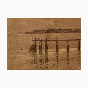 Pier, Mid 20th-Century, Pastel à l'Huile sur Papier par William Henry Innes, 1960s