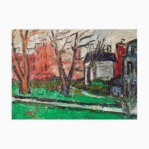 Wintertag in Kensington, frühes 20. Jh., Impressionistisches Öl, Gwen Collins, 1930