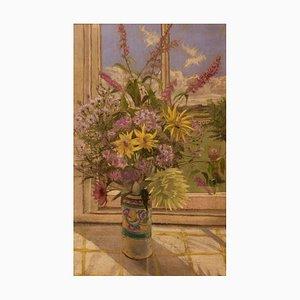 Flowers by My Window, siglo XX, bodegón pastel, William Henry Innes, 1960