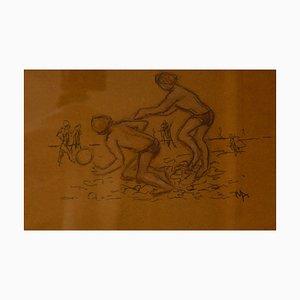 Vacanze estive, fine XX secolo di bambini sulla spiaggia, Muriel Archer, 1970