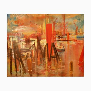 Gebäude von Canary Wharf, Spätes 20. Jahrhundert, Landschaft, Öl, In London von Milne, 1988