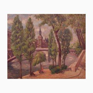 Huile Paysage de la Rivière de France Paris, Mid 20th-Century par Jacob Markiel, 1939