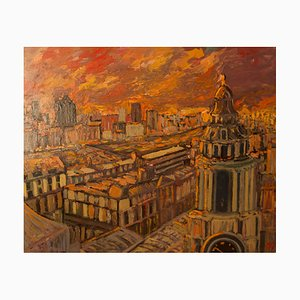 Sunset Over London, finales del siglo XX, paisaje acrílico impresionista, Quirke, 1995
