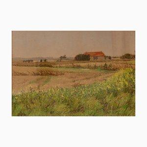 Paisaje de Cotswolds, mediados del siglo XX, óleo de William Henry Innes, años 60