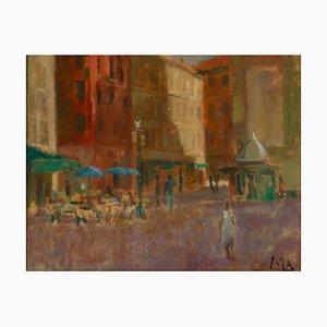 Kaffee in der Toskana, frühes 20. Jahrhundert, Impressionistisches Stück eines Cafés, Muriel Archer, 1935