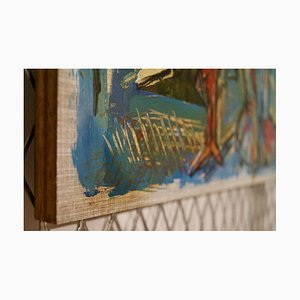 The Bridge and the City, Mid-Late 20. Jahrhundert, abstraktes Öl auf Holz von George De Goya, 1974