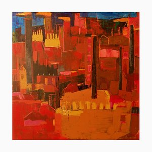 Abstract City Landscape, Late 20th-Century, Acrylic Painting by Amrik Varkalis, 1990s