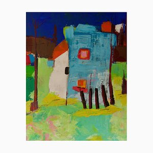 Abstract Building, Late 20th-Century, Acrylic Painting by Amrik Varkalis, 1990s