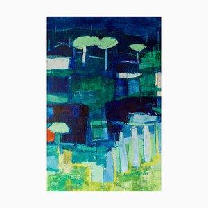 Paisaje abstracto, finales del siglo XX, pintura acrílica de Amrik Varkalis, años 90