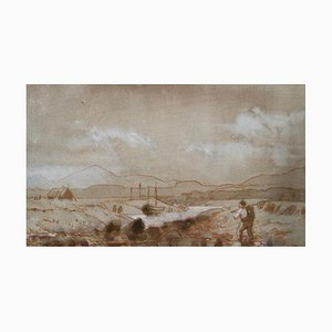 Paisaje rural, finales del siglo XIX, pintura de Lewis George Fry, 1885