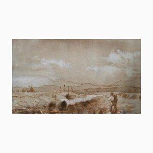 Paysage de Campagne, Fin du 19ème Siècle, Peinture de Campagne par Lewis George Fry, 1885