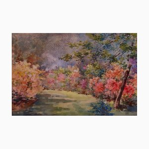 Floral Gardens, Early 20th-Century, Watercolor Landscape by Annie L Pressland, 1910s