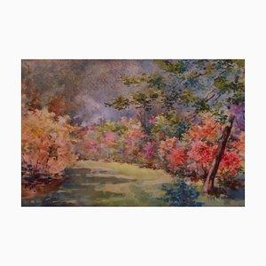 Giardini floreali, inizio XX secolo, paesaggio ad acquerello di Annie L Pressland, anni '10