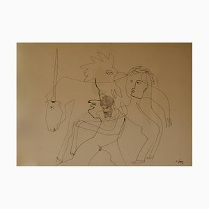 Abstract Piece, Late 20th-Century, Unicorn Man and Chicken by George De Goya, 1976