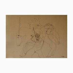 Pieza abstracta, finales del siglo XX, hombre unicornio y gallina de George De Goya, 1976