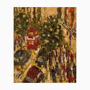 De compras tardías en Oxford Street, finales del siglo XX, acrílico impresionista, años 80