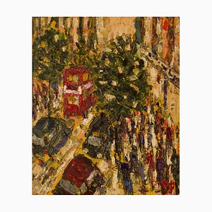 Spätes Einkaufen in der Oxford Street, spätes 20. Jh., Impressionistisches Acryl, 1980er
