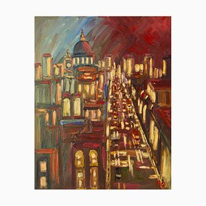 Early Morning City of London, fine XX secolo, acrilico di Michael Quirke, 1995
