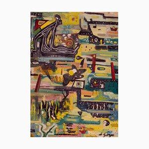 Man in a Rainy Town, Late 20th-Century, Mixed Media Wood Abstract, De Goya, 1967