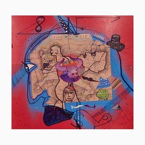Pathfinder, mapa abstracto, mediados del siglo XX, técnica mixta de George De Goya, años 60