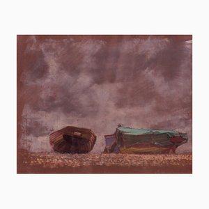 Boote am Strand, Mitte des 20. Jh., Impressionistisches Ölpastell auf Papier von Innes, 1960er