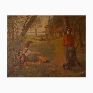 Día relajado en el parque, óleo impresionista, Peter Gardner, 1951