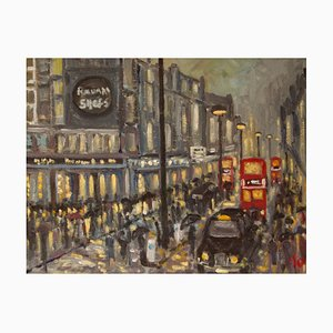 Rainy Night Shopping in London, Impressionist Piece, Michael Quirke, 1980