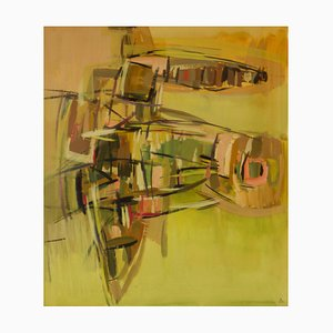 Abstract Piece, Mid 20th-Century, Mixed Media Watercolor by John Bolam, 1965