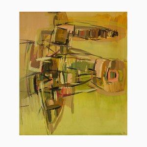 Pintura abstracta, mediados del siglo XX, técnica mixta de John Bolam, 1965