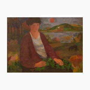 Figura con hiedra, finales del siglo XX, pieza al óleo figurativa de Duffy Ayers, años 90