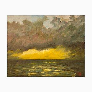 St Ives, finales del siglo XX, acrílico impresionista de Sunset on the Sea de Quirke, años 90
