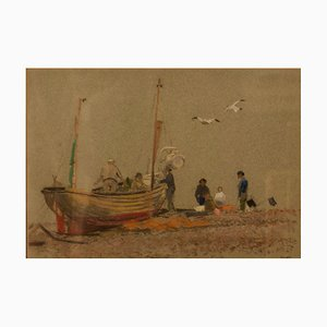 Grey Day at Eastbourne, Impressionist, Oil Pastel of a Boat, 1950