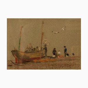 Jour Gris à Eastbourne, Impressionniste, Pastel à l'Huile d'un Bateau, 1950