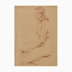 Bodegón figurativo de dama desnuda de A. Bradbury, lápiz, 1957
