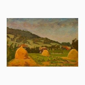 Pogoro Foothills, Mid-Century, pintura al óleo de Helena Krajewska, Polonia, años 50