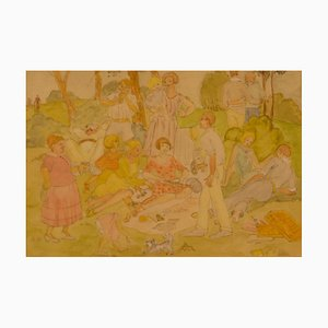 Picnic familiar, siglo XX, acuarela de un picnic en el parque, día en familia