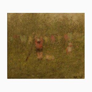 Hanging Out the Washing, Impressionist Pastel Piece, William Mason, 1960
