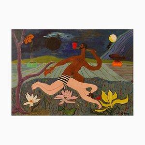 Jardín desnudo abstracto, Mid-Century, pieza abstracta en técnica mixta, George De Goya, años 70