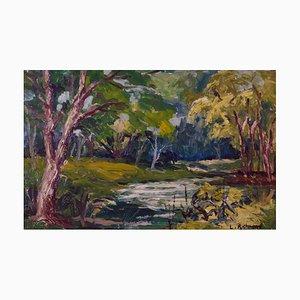 Woodland River, Mid-Century, Oil Landscape of Forest de Leonard Richmond, años 50