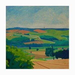 Landscape, Mid Century, Piece Oil on Board, Countryside von Michael Fell, 1960er