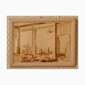 Art Déco Aquarell, Mitte des 20. Jahrhunderts, Gemälde von Cafe von Howard Bowen, 1958