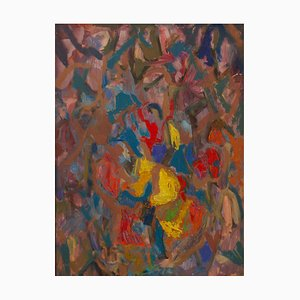 Abstract Piece, Mid 20th-Century, Colourful Oil on Canvas by Metchilet Navisaski, 1930