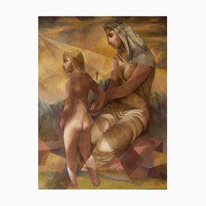 Lámpara abstracta de madre e hijo, mediados del siglo XX, Nisbet