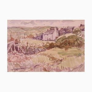 Paisaje de Cornualles, mediados del siglo XX, acuarela impresionista de Muriel Archer, años 60